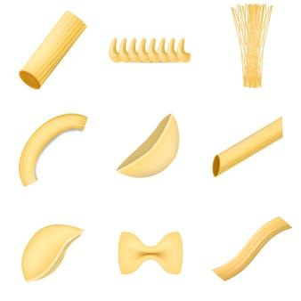 Makkaroni nudelspaghetti-modell-set. realistische abbildung von 9 makkaroni-teigwaren-spaghetti-modellen für web