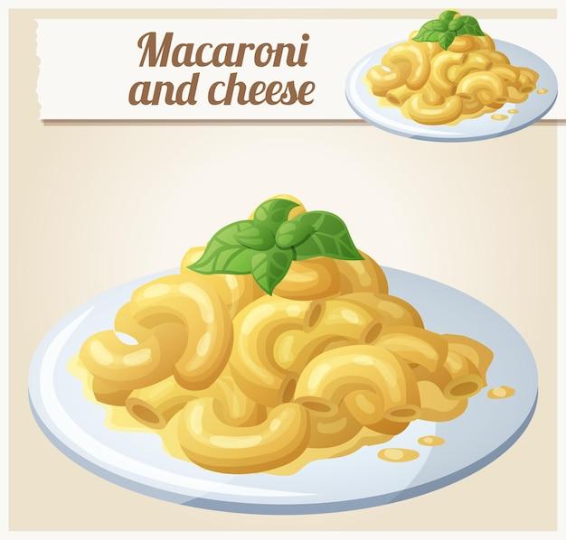 Makkaroni und käse detailliertes vektorsymbol