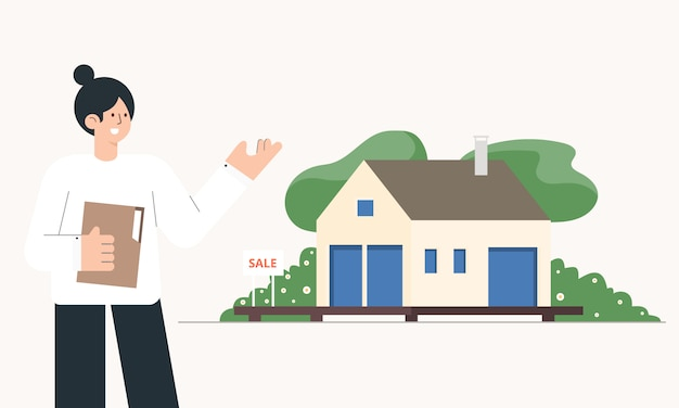Makler mit haus zum verkauf. immobilienkonzept. cartoon-illustration.