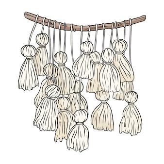 Makramee boho-stil bild. textile knoten gestaltungselement.