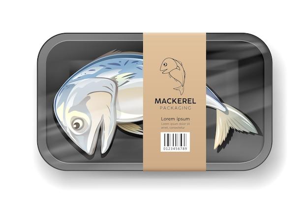 Makrelenfisch eins, in schwarzer schaumstoffschale, eingewickelt in plastikverpackung mit braunem etikett