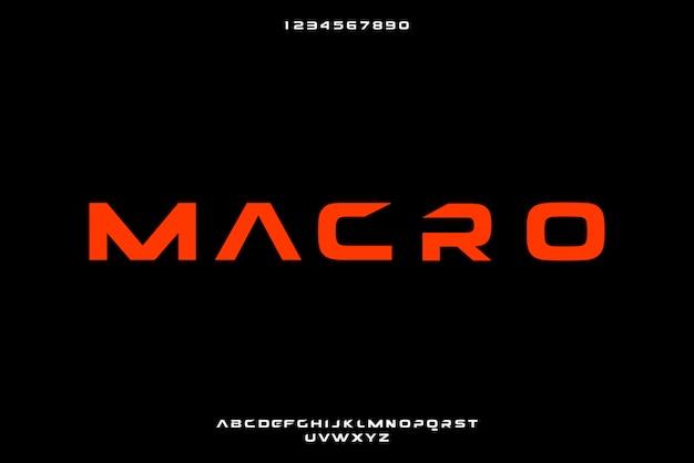 Makro, eine abstrakte futuristische alphabetschrift mit technologiethema. modernes minimalistisches typografie-design