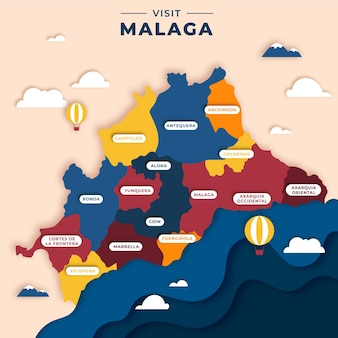 Malaga-karte im papierstil