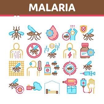 Malaria-krankheit-dengue-fieber-sammlungs-ikonen eingestellt