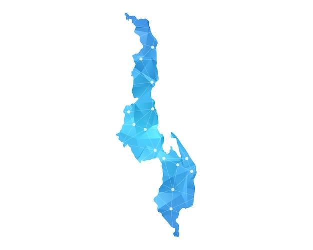 Malawi-kartenlinie punktet polygonale abstrakte geometrische.