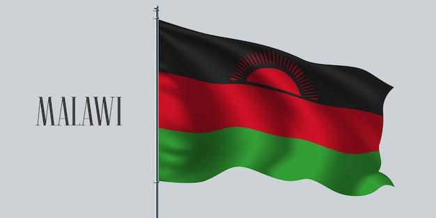 Malawi winkende flagge auf fahnenmastillustration