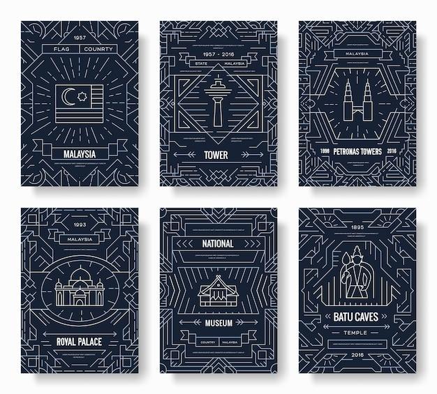 Malaysia dünne linie broschüre kartensatz