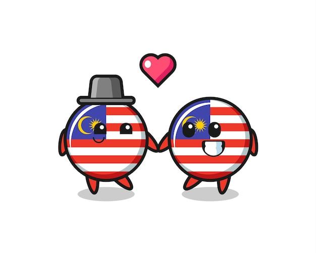 Malaysia-flaggenabzeichen-cartoon-charakterpaar mit verliebungsgeste, süßem stildesign für t-shirt, aufkleber, logo-element