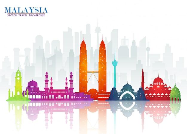 Malaysia landmark global travel & journey papier Premium Vektoren