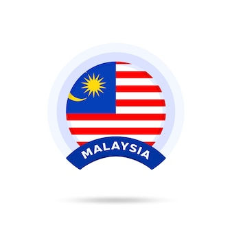 Malaysia nationalflagge kreis schaltflächensymbol. einfache flagge, offizielle farben und proportionen korrekt. flache vektorillustration.