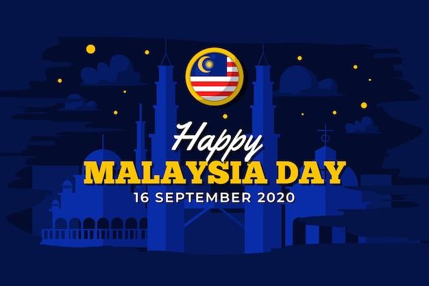 Malaysia tag mit nachthimmel