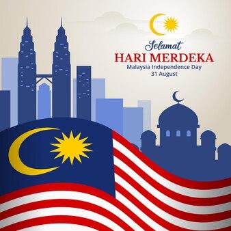 Malaysia-unabhängigkeitstag-hintergrund mit blick auf die stadt und wahrzeichen illustration