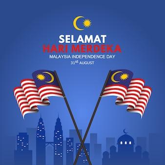 Malaysia-unabhängigkeitstag-hintergrund mit wehender flagge auf stick und blick auf die sehenswürdigkeiten