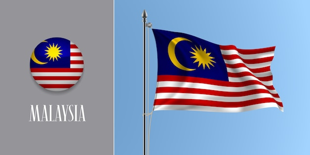Malaysia winkende flagge auf fahnenmast und runder symbolillustration