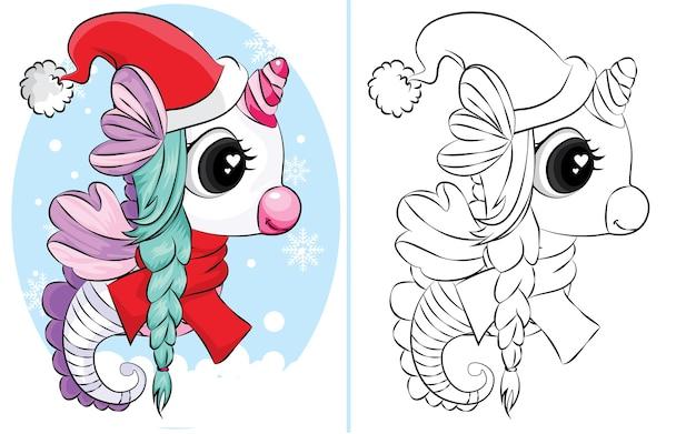 Malbuch des seepferdchens mit weihnachtsmütze und schal. malbuch für kinder.