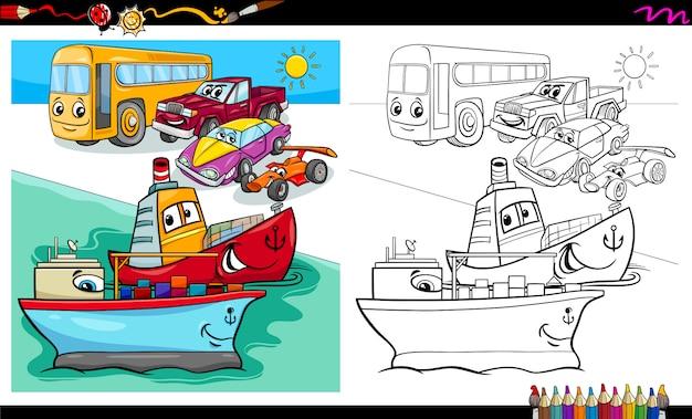 Malbuch für autos und schiffsfiguren