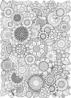 Malbuch für erwachsene. fantasy-doodle-blumen auf weißem hintergrund