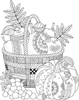 Malbuch für erwachsene in einem doodle-stil thanksgiving day korb mit äpfeln, birnen und kürbis
