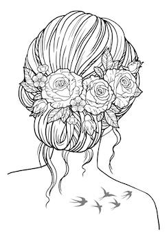 Malbuch für erwachsene. mädchen mit einer frisur, die in das haar von rosenblüten geflochten ist. vektorschwarzes konturbild auf weißem hintergrund