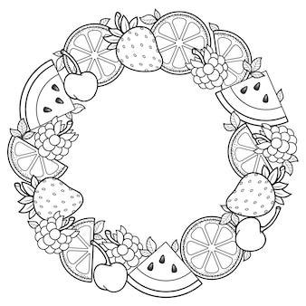 Malbuch für erwachsene runder rahmen aus wassermelonen-erdbeeren zitrus-kirschen und erdbeeren schwarz und weiß