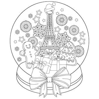 Malbuch für erwachsene. schneekugel mit erinnerungen an paris. eine flasche mit eiffelturm, lebkuchenmann, keksen, kaffee und schneeflocken