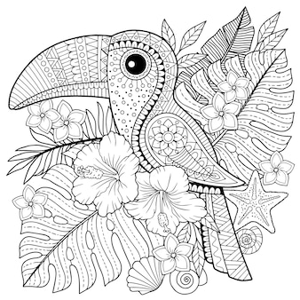 Malbuch für erwachsene. tukan zwischen tropischen blättern und blüten. malvorlagen zum entspannen und erholen
