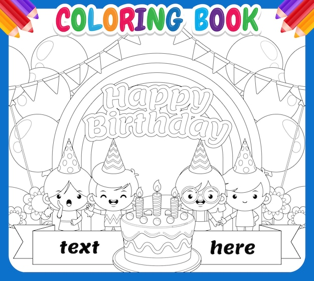 Malbuch für kinder. alles gute zum kindergeburtstag auf rainbow sky garden