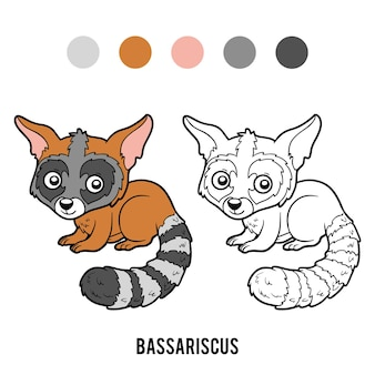 Malbuch für kinder, bassariscus