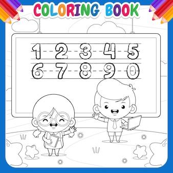 Malbuch für kinder. cartoon glücklicher süßer schüler bei der outdoor-bildung