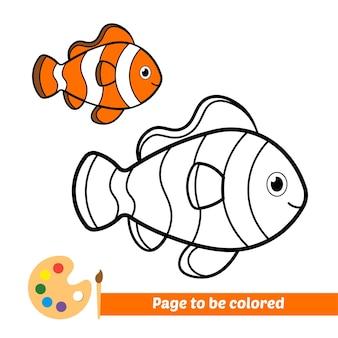 Malbuch für kinder clownfisch vektor