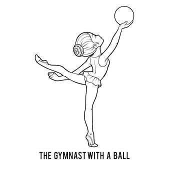 Malbuch für kinder, die turnerin mit ball