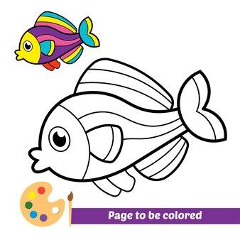 Malbuch für kinder fischvektor
