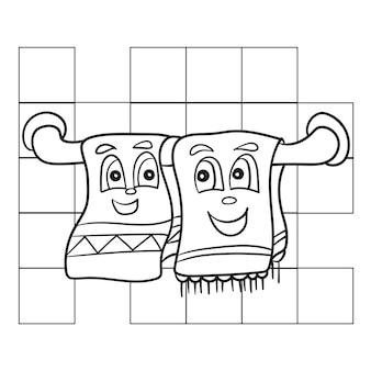 Malbuch für kinder, geschirrtuch - cartoon malvorlagen