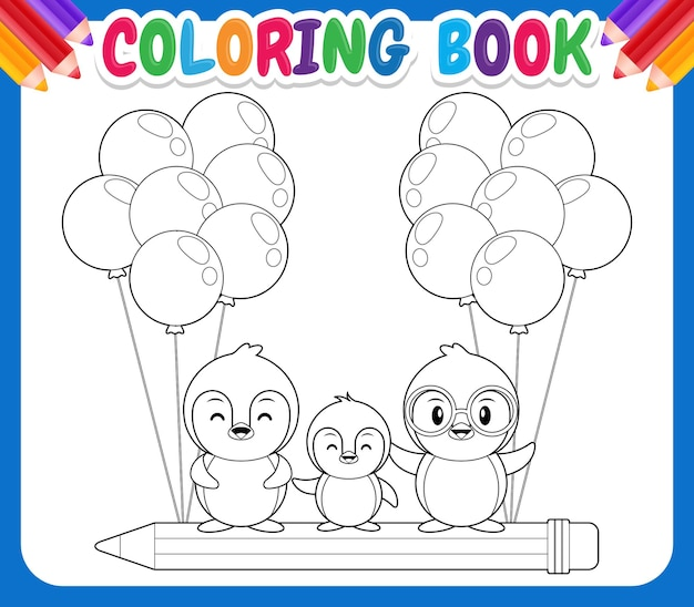Malbuch für kinder. karikatur drei niedliche pinguine, die auf fliegendem bleistift reiten