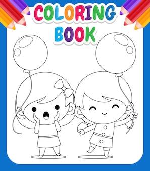 Malbuch für kinder. karikatur zwei nettes kleines mädchen, das ballon-malvorlage hält