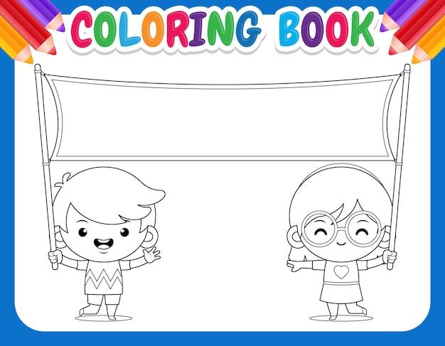 Malbuch für kinder. kinder mit leerem banner