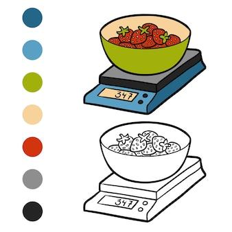 Malbuch für kinder, küchenwaage und erdbeeren
