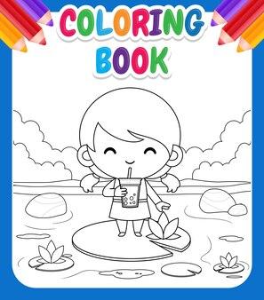 Malbuch für kinder mit cartoon girl standing on lotus