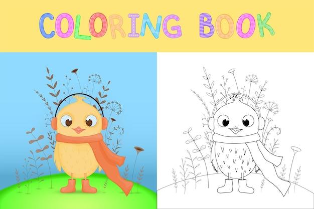 Malbuch für kinder mit cartoon-tieren.