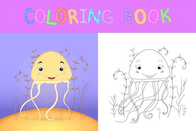 Malbuch für kinder mit comic-tieren. bildungsaufgaben für vorschulkinder süße quallen.