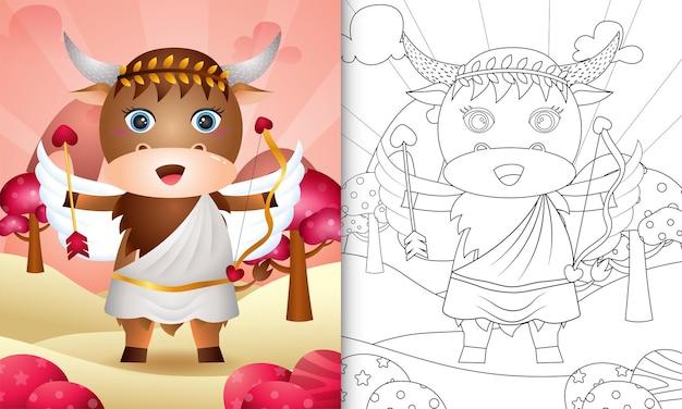 Malbuch für kinder mit einem niedlichen büffel-engel unter verwendung des thematischen valentinstags des amor-kostüms