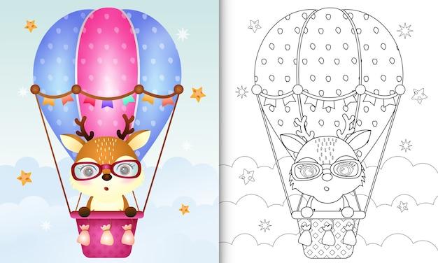 Malbuch für kinder mit einem niedlichen hirsch auf heißluftballon