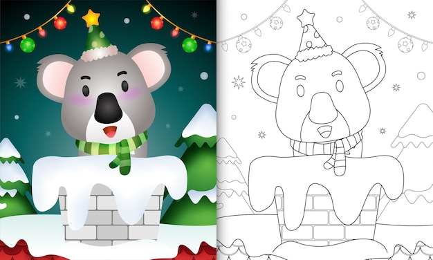 Malbuch für kinder mit einem niedlichen koala mit weihnachtsmütze und schal im schornstein