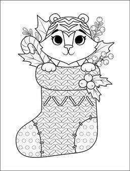 Malbuch für kinder mit einem tiger in einem weihnachtsstrumpf. tier für das neue jahr 2022