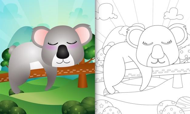 Malbuch für kinder mit einer niedlichen koala-charakterillustration
