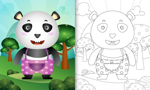 Malbuch für kinder mit einer niedlichen panda-charakterillustration Premium Vektoren