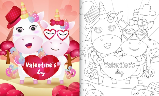 Malbuch für kinder mit süßem einhornpaar zum valentinstag illustriert