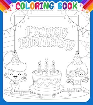 Malbuch für kinder. netter junge und mädchen mit großer alles gute zum geburtstagfahne