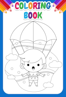 Malbuch für kinder. netter kleiner junge, der mit fallschirm fliegt