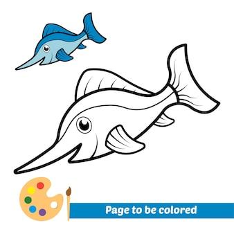 Malbuch für kinder, schwertfischvektor